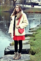 beige fake fur astraka coat - red basic H&M dress - black beanie new look hat