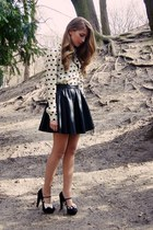 black H&M skirt - ivory OASAP shirt - black new look heels