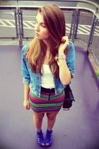 black H&M skirt - sky blue no name jacket - off white Stradivarius top