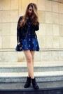 Black-h-m-boots-blue-sheinside-dress-black-cubus-jacket