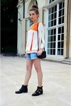 black Stradivarius boots - BANAIS shirt - black H&M bag - sky blue Oysho shorts