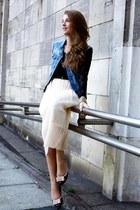 cream OASAP skirt - blue Stradivarius vest - black Bik Bok top