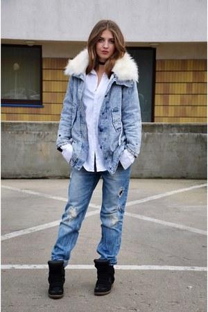 sky blue Tally Weijl jeans - sky blue no name jacket - white Topshop shirt