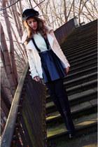 black new look boots - black H&M hat - beige Sheinside jacket