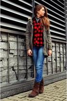 brown Tommy Hilfiger boots - blue Mango jeans - dark khaki vintage jacket