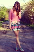 bubble gum Bershka skirt - bubble gum Cubus sweater - aquamarine Aldo sandals