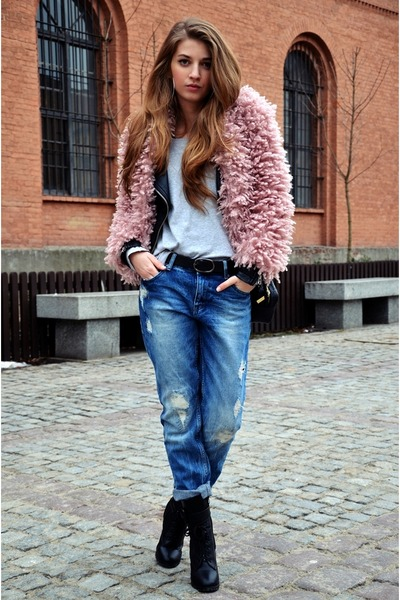 black boots - heather gray jeans - light pink sweater - blue top