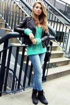 aquamarine vintage sweater - black no name boots - blue Tally Weijl jeans