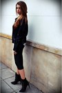 Black-zara-boots-black-sheinside-jacket-black-no-name-scarf