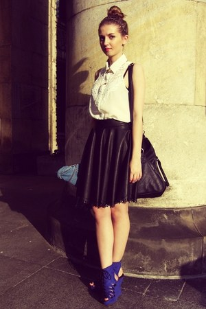 black Dahlia skirt - white Sheinside shirt - black Pimkie bag - blue H&M wedges