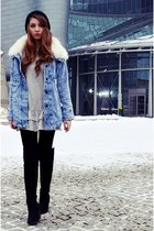 sky blue 6ks jacket - black new look boots - heather gray Zara dress
