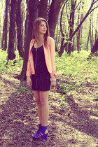 blue H&M wedges - black H&M dress - peach new look blazer