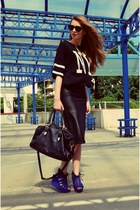 black Pimkie bag - black new look skirt - black Sheinside t-shirt