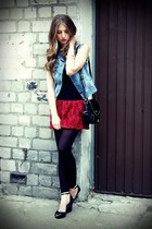 black OASAP bag - ruby red OASAP skirt - black Melissa wedges