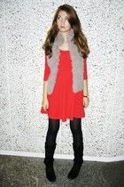 red H&M dress - tan c&a vest