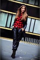 black Zara boots - black Sheinside coat - black H&M hat - H&M shirt