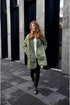 olive green Front Row Shop jacket - black Stradivarius boots