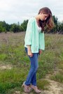 Blue-tally-wejil-jeans-aquamarine-secondhand-blazer-tan-new-look-heels