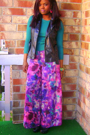 wideleg rue21 pants - turquoise blue Forever21 sweater - Wet Seal vest