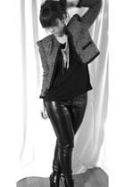 black Topshop shoes - black Vila pants - black Monki t-shirt - H&M Trend jacket