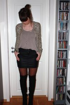 black Topshop shoes - black Cubus skirt - beige DIY top - lindex cardigan - fash