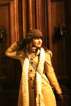 beige Zara jacket - H&M scarf - brown Zara shoes