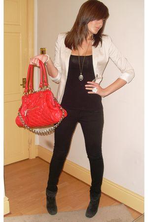 black Topshop shoes - beige H&M blazer - white thomas sabo bracelet