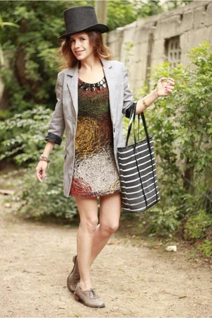 heather gray Mango blazer - silver news shoes - magenta Mossimo dress