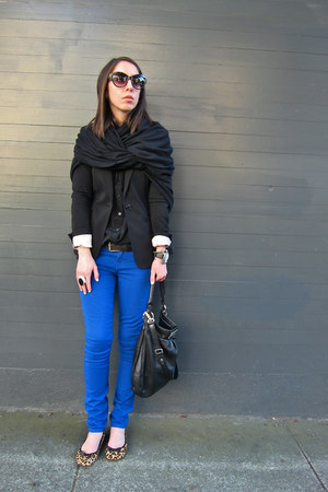 blue Guess jeans - black H&M blazer - black American Apparel scarf