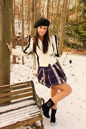 black Sugar Lips boots - purple Zara skirt - ivory Primark blazer - black H&M ha