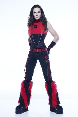 black corset accessories - black Fantasy boots - red Pimkie shirt