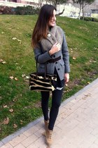 Zara leggings - Mustang boots - Burberry jacket - Zara cardigan