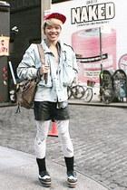 white thrifted vintage leggings - periwinkle thrifted vintage jacket