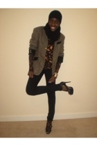 H&M accessories - Marks and Spencers top - vintage jigsaw blazer - Topshop jeans
