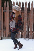 blue Urban Outfitters sweater - dark brown Nine West boots - white H&M hat