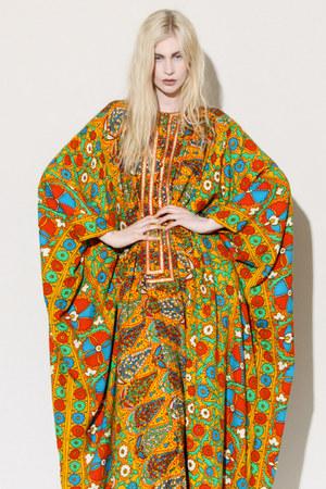 vibrant floral 1970s dress