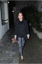 black Zara blazer - black vintage t-shirt - black made by myself necklace - beig