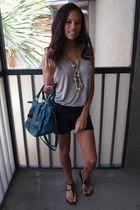 teal Franchescas purse - navy Forever 21 shorts - black Charlotte Russe sandals