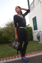 black Forever 21 jeans - black Forever 21 shirt - black Nine West bag