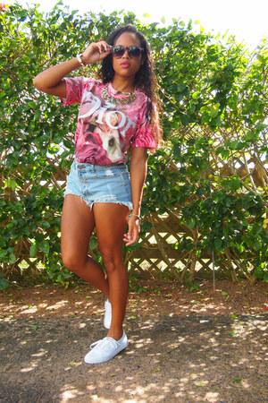 light blue romwe shorts - hot pink romwe t-shirt - white Vans sneakers
