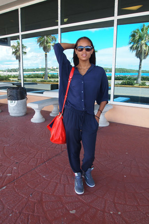 navy Mango pants - carrot orange Rebecca Minkoff bag - gray nike sneakers