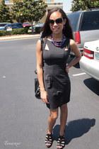 black Bebe dress - black Nine West heels - purple Franchescas necklace