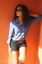 blue Forever 21 blouse - coral Express belt