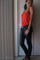dark gray Forever 21 jeans - Aldo bracelet - carrot orange Forever 21 top - blac