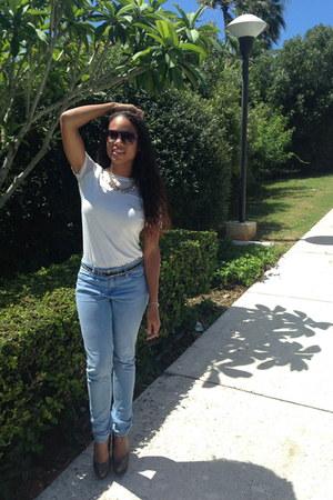 sky blue Forever 21 jeans - white H&M shirt