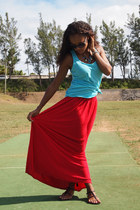 red maxi Forever 21 skirt - sky blue Forever 21 top - black Nine West sandals