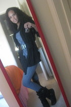 black boots - charcoal gray skinny Forever21 jeans - black scarf - black Charlot
