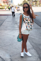 white t-shirt - turquoise blue Steve Madden bag - white Vans sneakers