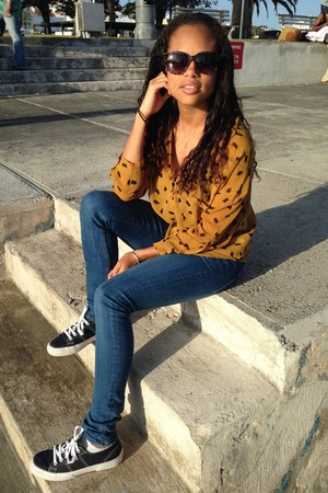 blue Forever 21 jeans - gold Forever 21 blouse - navy Superga sneakers