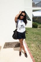 navy Forever 21 shorts - white Forever 21 top - black Nine West heels